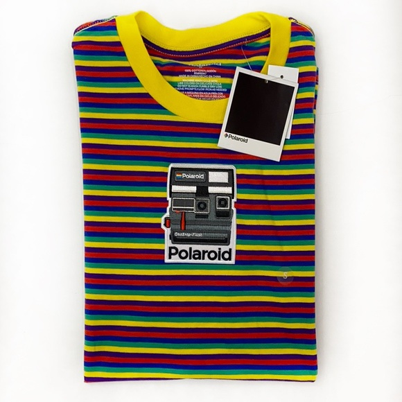 PacSun Other - Polaroid Embroidered Horizontal Stripe Rainbow Tee